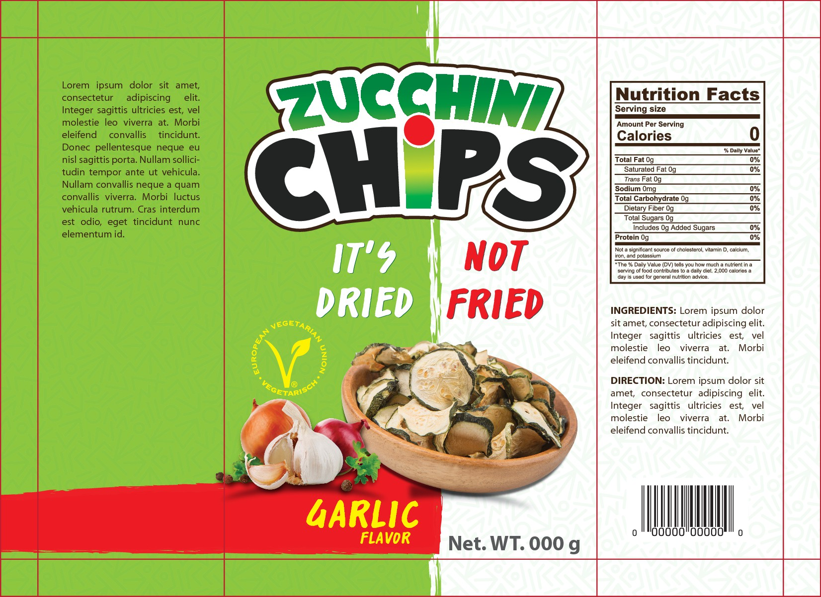 Design a beautiful smart zucchini chips package