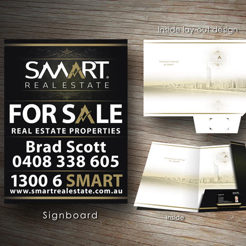 Help Smart Real Estate with a redesigned/upgraded Presentation Folder for new clients & ALSO a new FOR SALE sign board