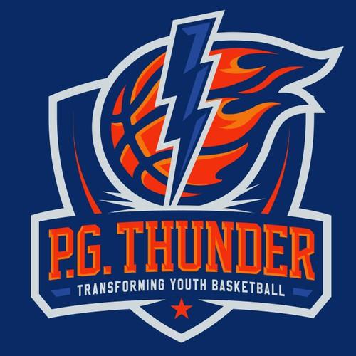 Thunderbolt with Fireball Basketball logo