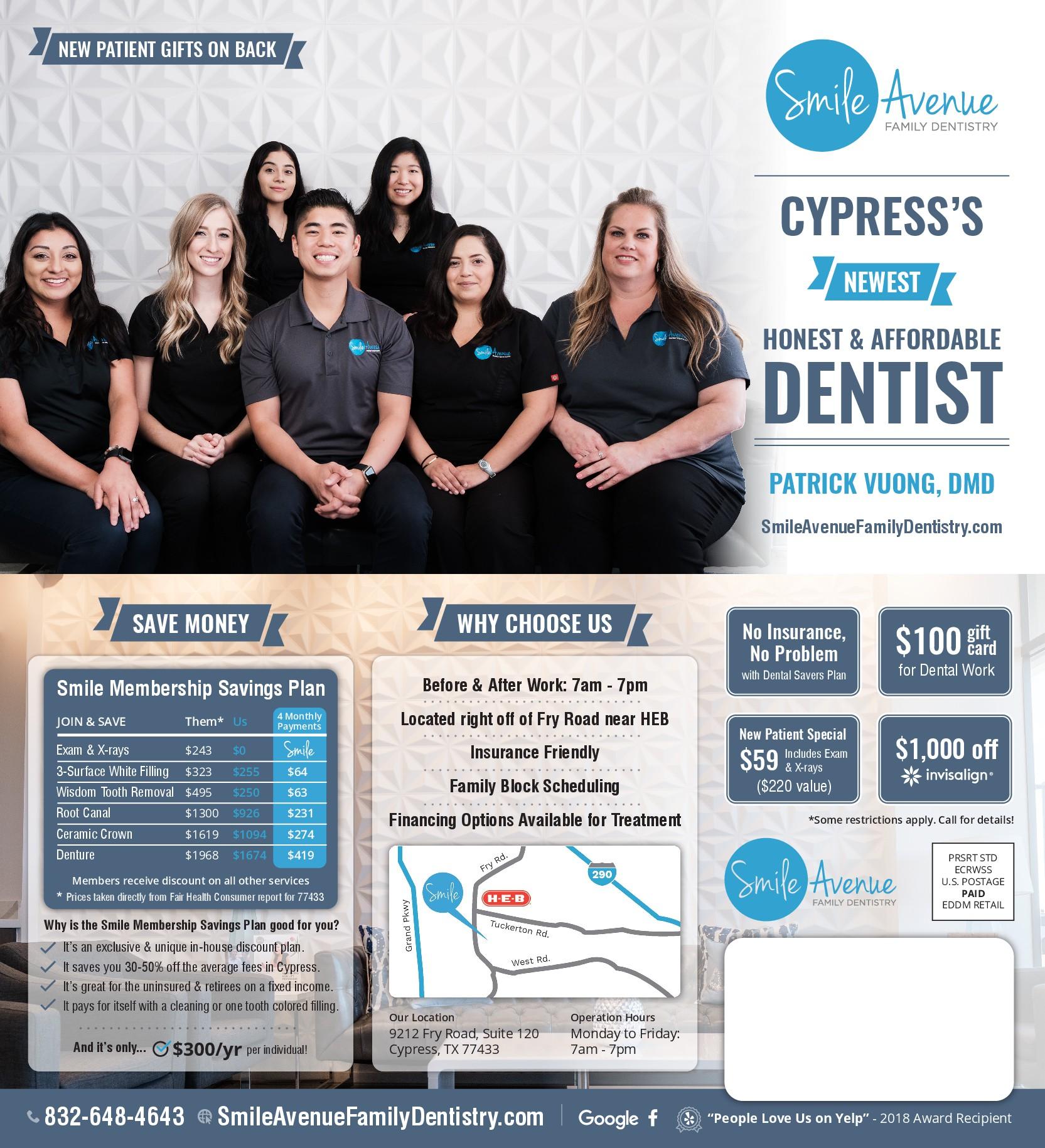 Smile Avenue Family Dentistry: Dental practice Postcard Mailer