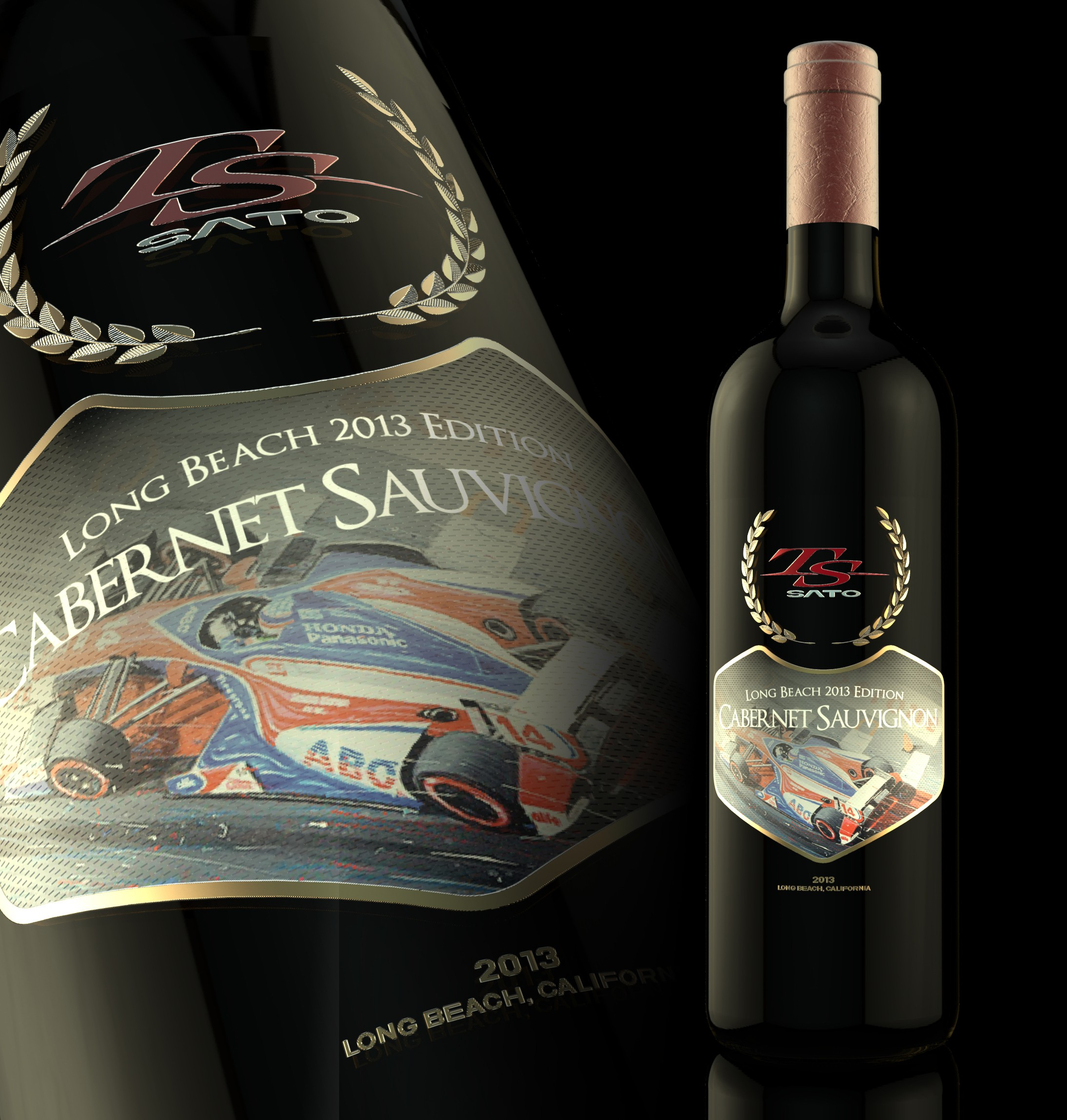 IndyCar Driver Takuma Sato wine bottle design