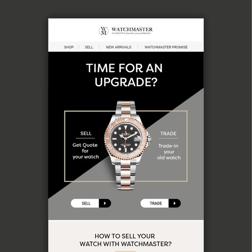 Ecommerce email design for Watch Master
