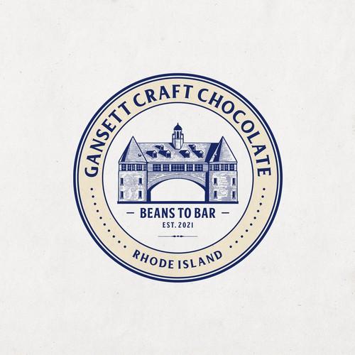 Vintage Emblem Logo for craft chocolate co.