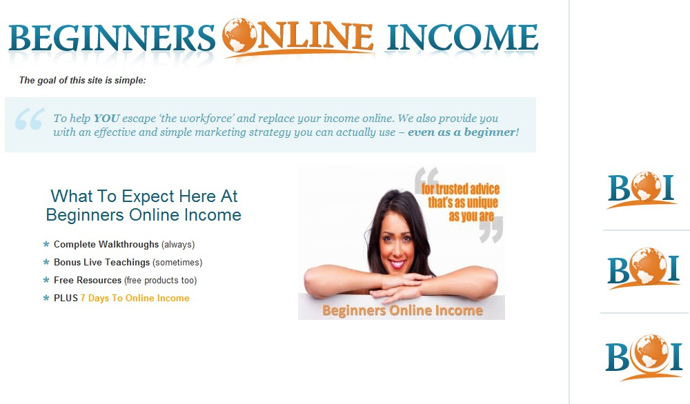 New Header:  Beginners Online Income
