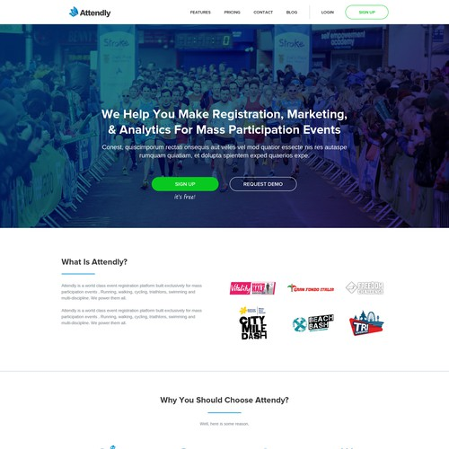 New Home Page Design for Sport Event StartUp
