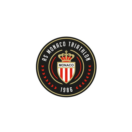 Clean, minimal, circular logo for AS Monaco Triathlon