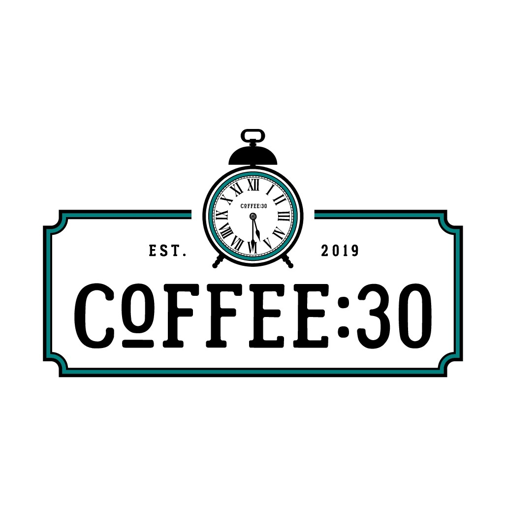Create a Rustic Logo for a unique coffee shop called COFFEE:30. COFFEE:30 is a time of day.