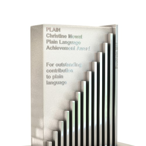 Plain Language International design for an awards trophy