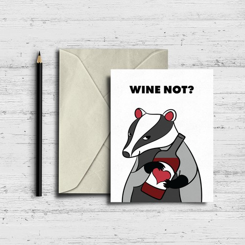 WINE NOT? postcard concept
