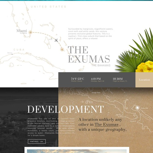 Breathtaking web page design for a beachfront development in the Bahamas