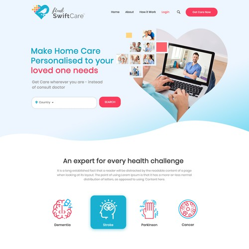 Create a human-centric and innovative landing page for Findswiftcare !