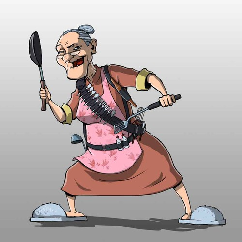 Create  an illustration of a grandma for a chutney label