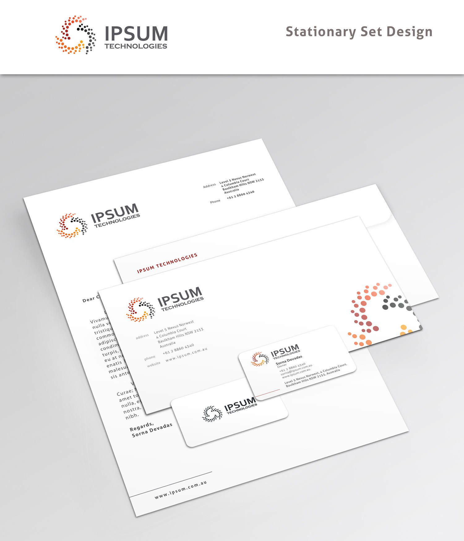 Create the stationery for Ipsum Technologies