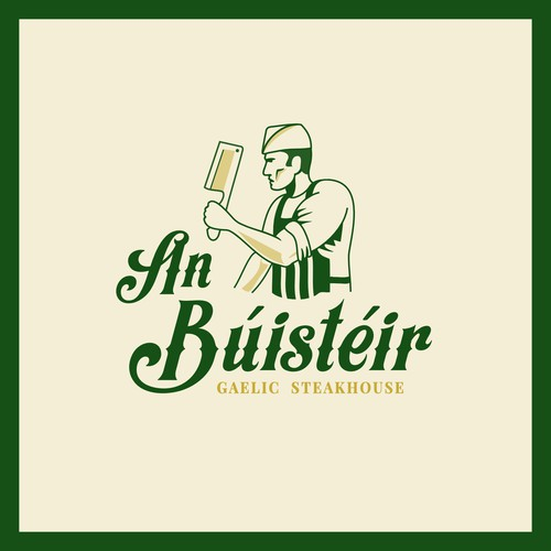 "Irish Restaurant Logo An Búistéir  ""The Butcher"""