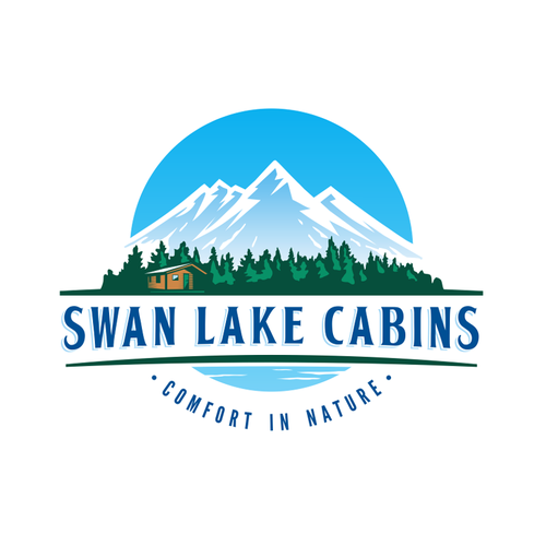 Logo and business card design for Montana cabins in the woods