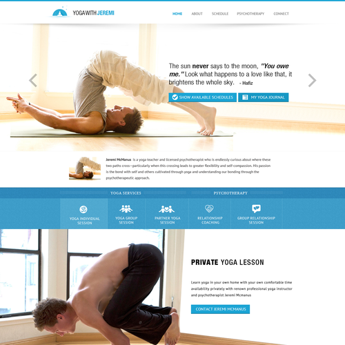 Design a winning website for an exciting yoga teacher in San Francisco