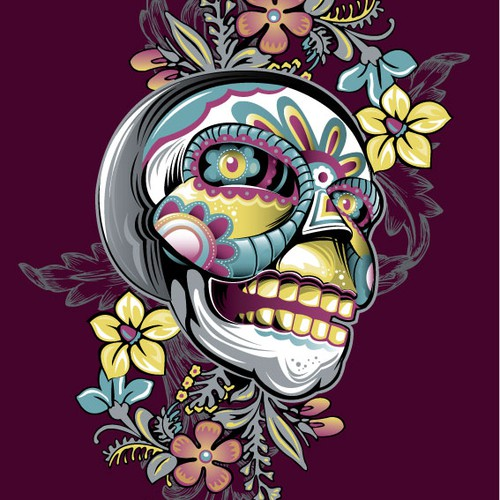Día de los Muertos illustration for E-Cards.com