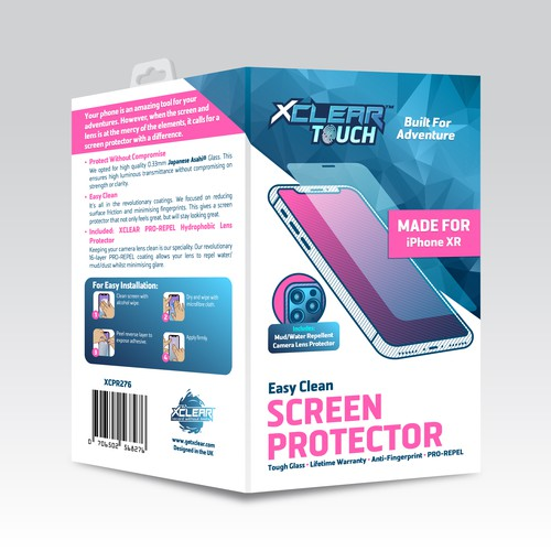 Packaging for XCLEAR Phone Screen Protectors