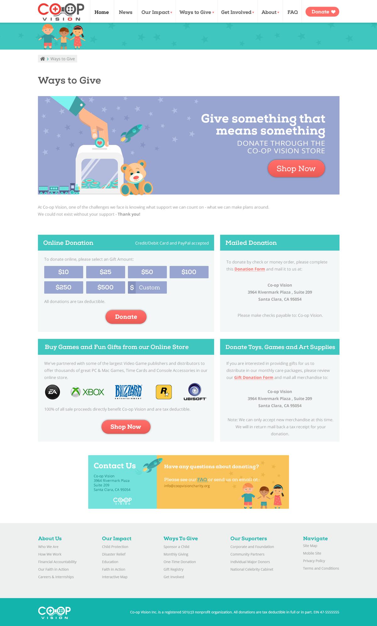 Co-op Website Design