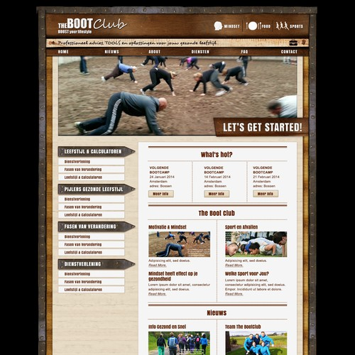 Website Design Healthy Lifestyle Boot Camp: Back to Basic.