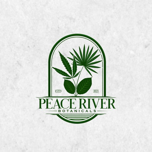 Botanicals logo with hemp leaf, kratom leaf and saw palmeto leaf with vintage style
