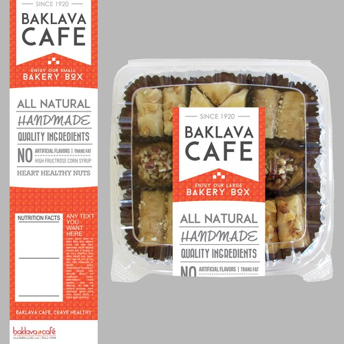 Supermarket bakery box labels for famous Baklava Cafe!