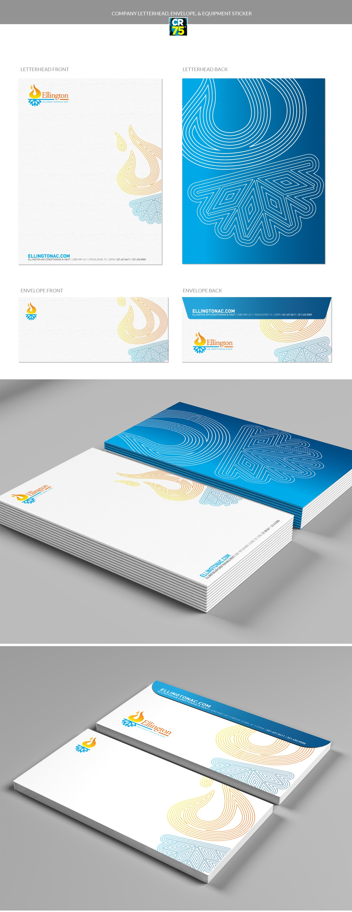 Company letterhead, envelope, & equipment sticker
