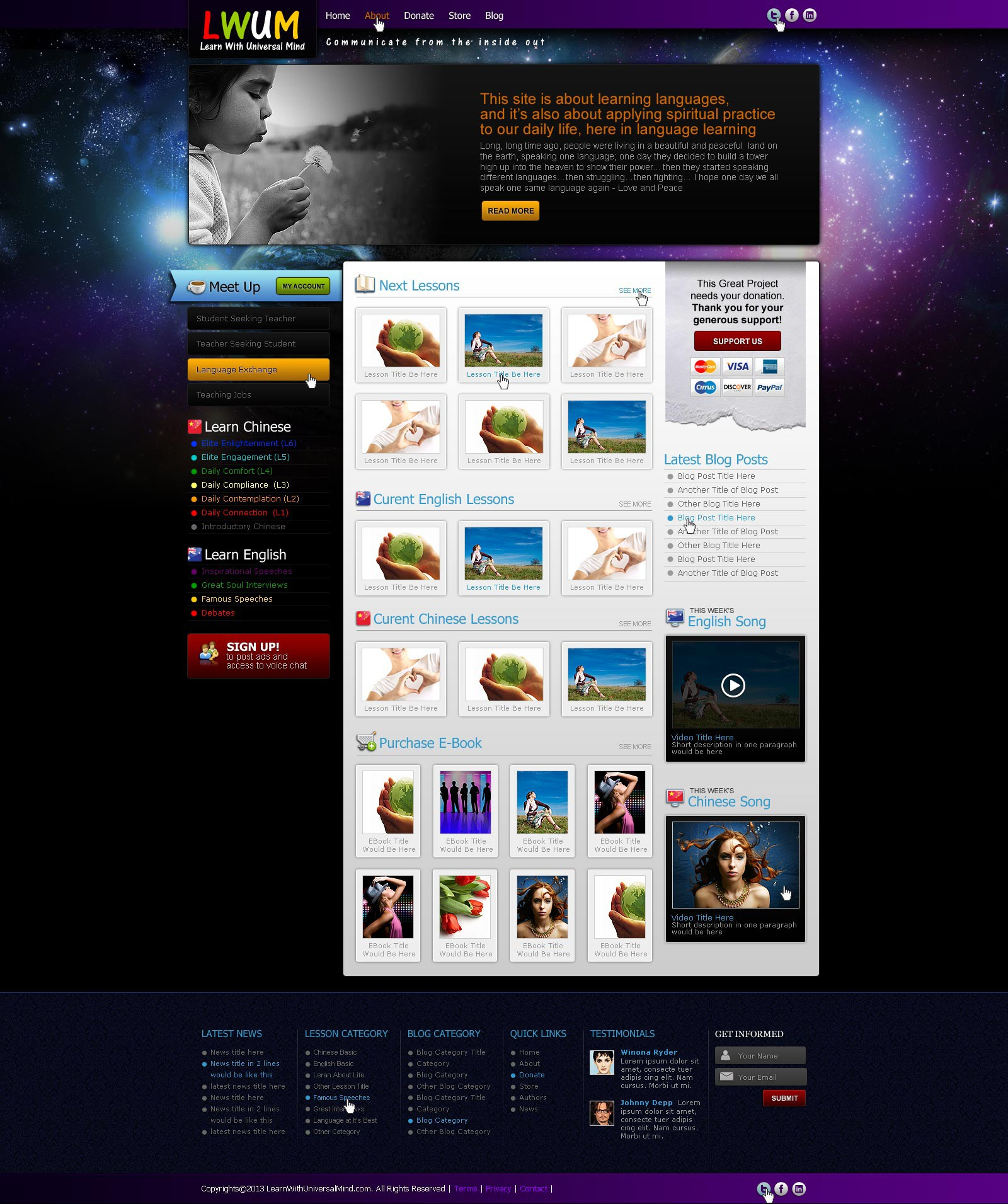learnwithuniversalmind.com   is a nonfrofit online educational community needs a new website design
