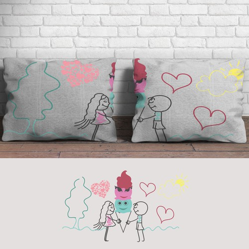 Cute couple pillow