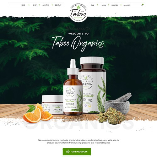 Organic Homepage design for Taboo