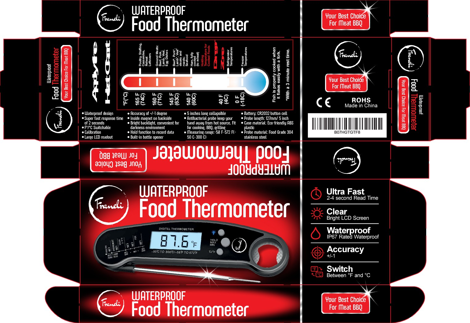 Created a Waterproof Food thermometer packaging (Link Provide for guidance)