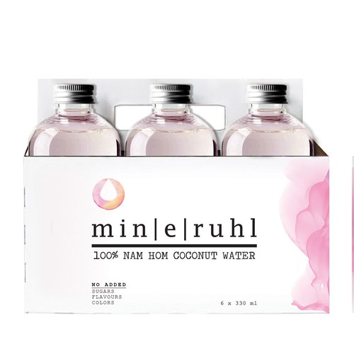 6 pack for bottles and logo for coconut pink water