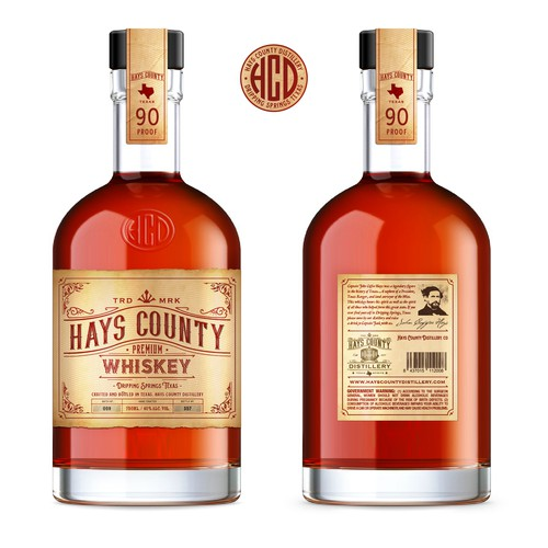 Hays County Whiskey Bottle/label design