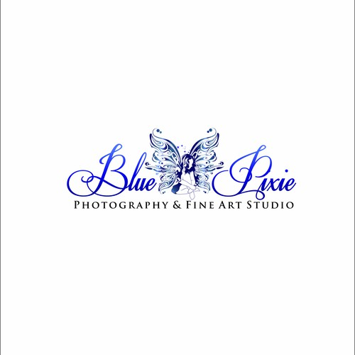 Design an elegant yet whimsical logo for Blue Pixie - a portrait photography and art studio.