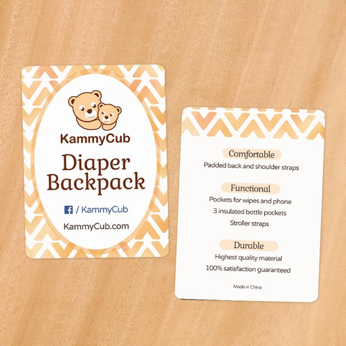 Diaper Backpack Hang Tag Design