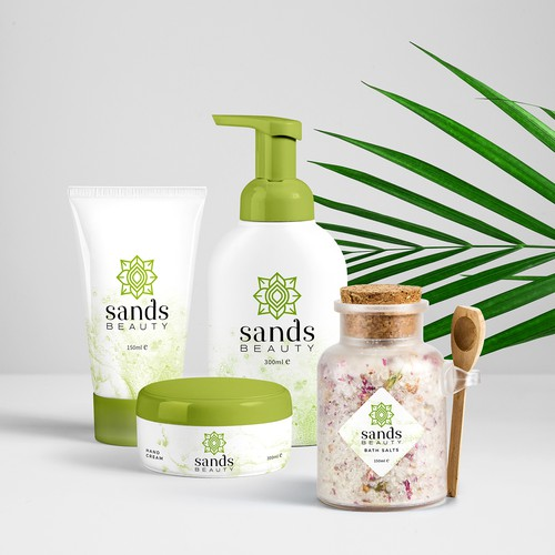 Sands Beauty logo or Upscale beauty, spa, and healthcare products