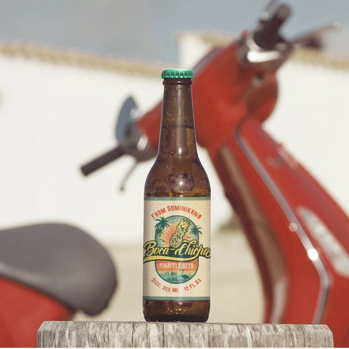 The label design of the Dominican beer, which was supposed to embody the name of the drink Boca Chicha, in honor of the famous beach Boca Chica and drink chicha, as well as the fact that it is made from pineapple.