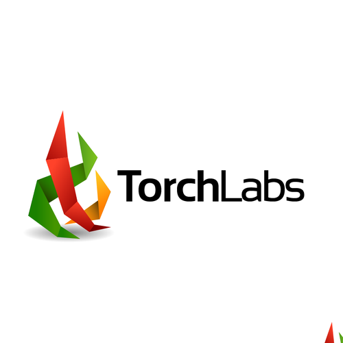 Paper flame logo concept for Torch Labs