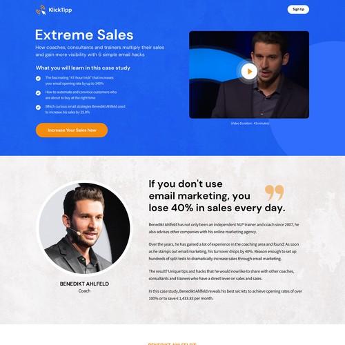 Landing page design for a motivational speaker