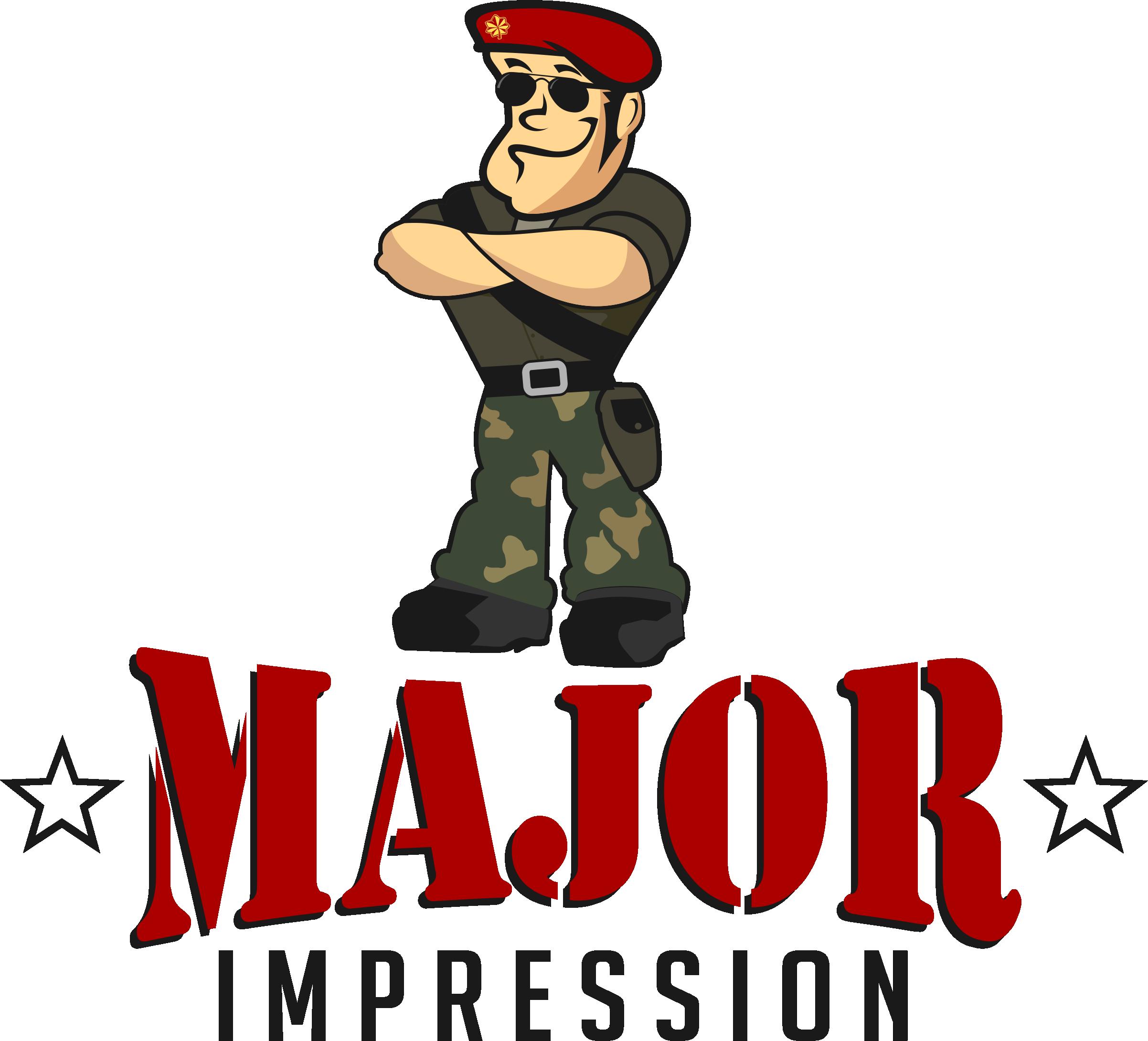 Create a military major logo for a marketing & promotional Company called Major Impression