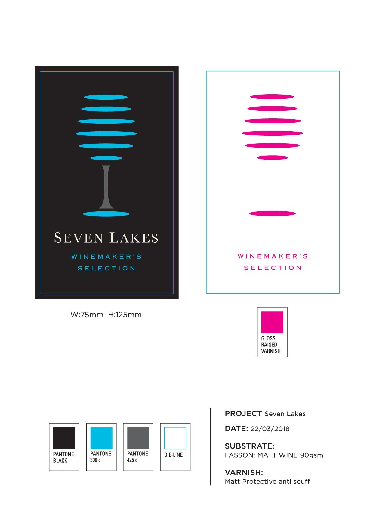 Seven Lakes - design a premium wine label