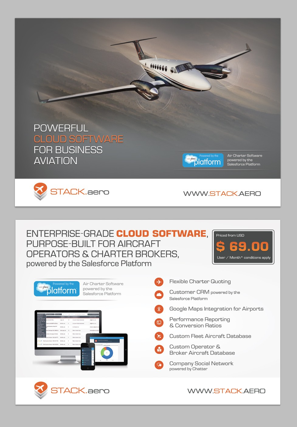 Create a postcard-flyer for private aviation software company