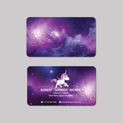 Business card for unicorn trainer and part time space explorer