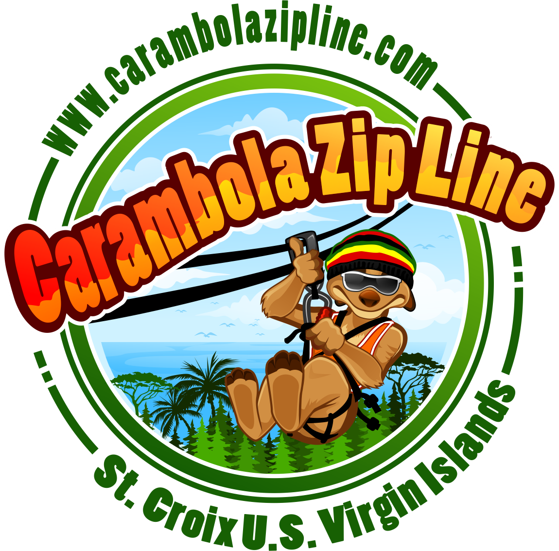Tropical, Carambola Zip line, caribbean island, adventure safari bus decals