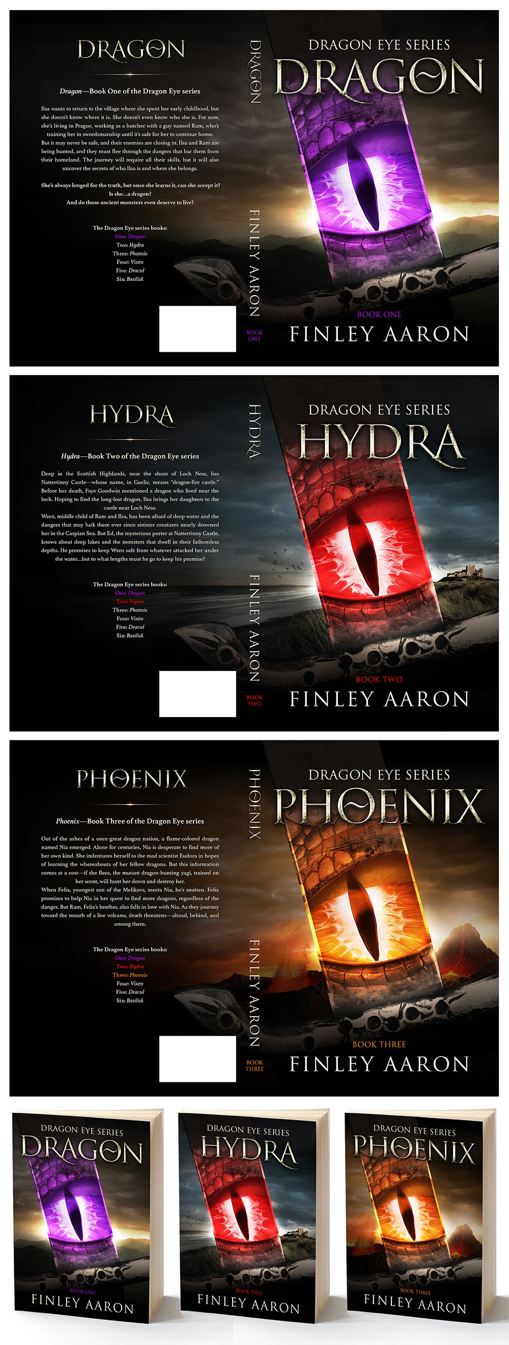 Book Covers for the first 3 books in my YA urban fantasy series, Dragon Eye—more books to come!