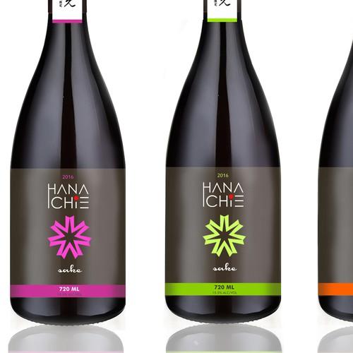 label design for Hana Ichie sake