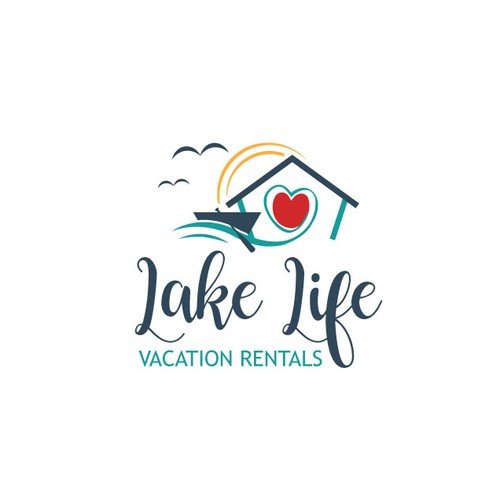 Fun, simple lake life logo