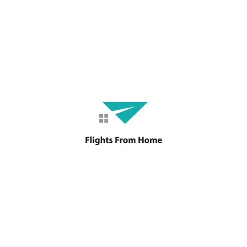 Simple logo for travel and hotel (flights from home)