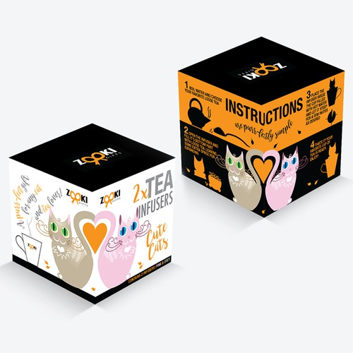 Design a fun and modern packaging concept for a globally sold product - Cat shaped tea infusers.