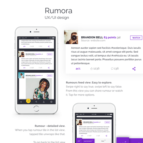 Social app for rumors